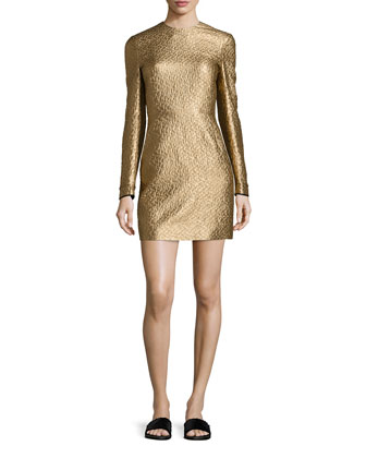 Metallic Sheath Mini Dress, Gold