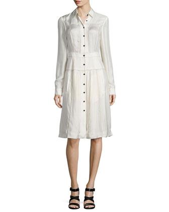 Long-Sleeve Shirtdress W/Contrast Stitching, Bone
