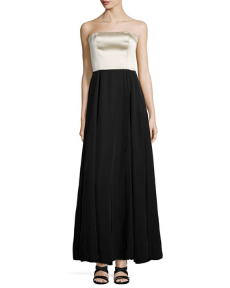 Strapless Two-Tone Bustier Gown, Black/Oyster