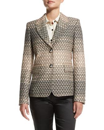 Geometric-Ombre Jacket, Cream Fade