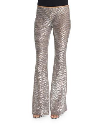 Long-Sleeve Jewel-Neck Sweater, Silver