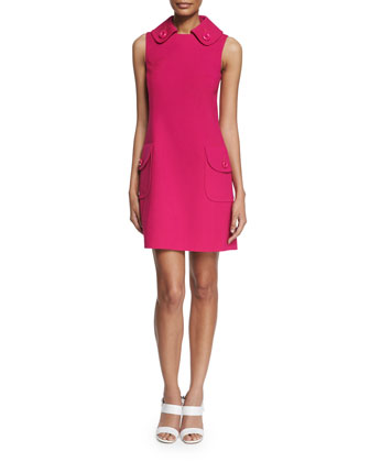 Sleeveless Collared Pocket Dress, Geranium