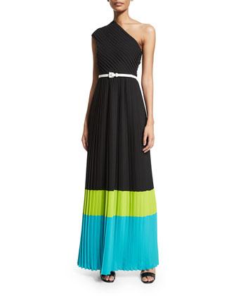 One-Shoulder Colorblock Plisse Gown, Black/Lime/Aqua
