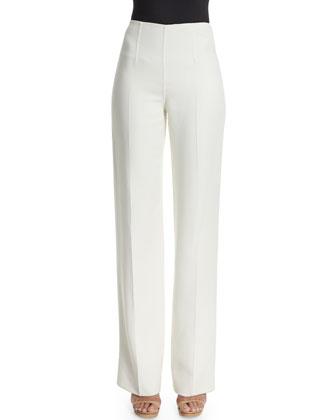 Straight-Leg Side-Zip Pants, White
