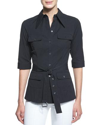 Elbow-Sleeve Belted Utility Shirt, Black
