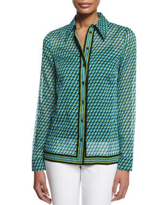 Deco-Print Button-Down Shirt, Aqua