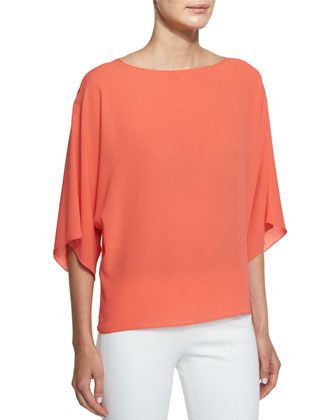 3/4-Sleeve Bateau-Neck Top, Persimmon