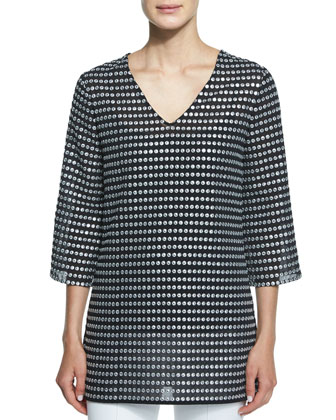 Embroidered Metallic Dot-Print Tunic, Black