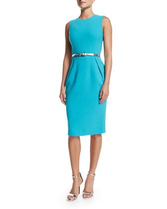 Half-Sleeve Open-Front Shrug & Sleeveless Pleated-Front Sheath Dress