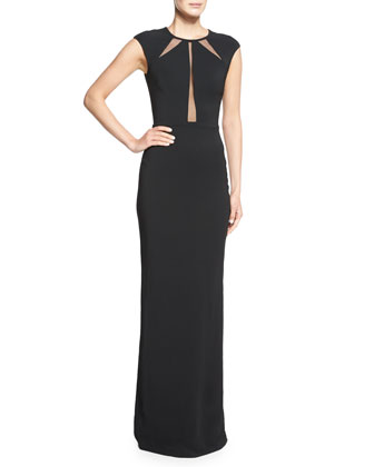 Crepe Cady Open-Back Illusion Gown, Black
