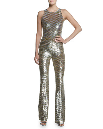 Sequined Mesh Bell-Bottom Jumpsuit, Gold