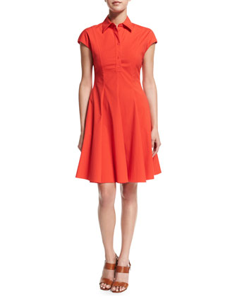 Cap-Sleeve Fit-&-Flare Shirtdress, Coral