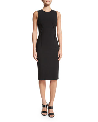 Sleeveless Stitch-Seam Sheath Dress, Black
