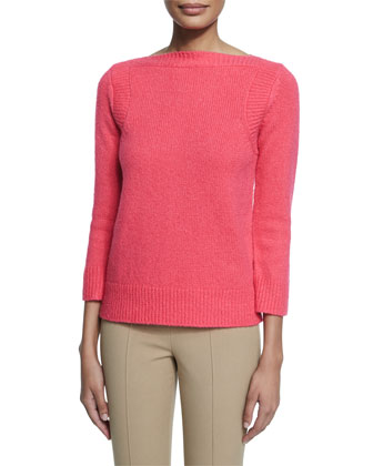 3/4-Sleeve Boxy Sweater, Watermelon