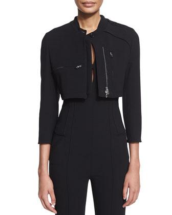 Cropped Utility Jacket, Black