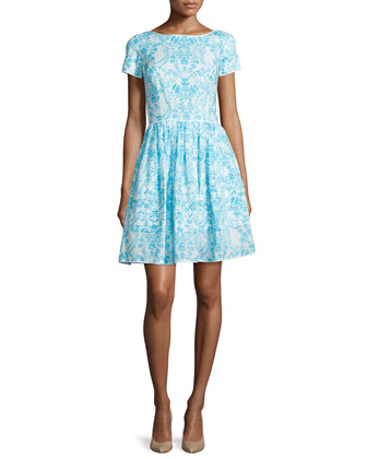 Short-Sleeve Printed Day Dress, Blue