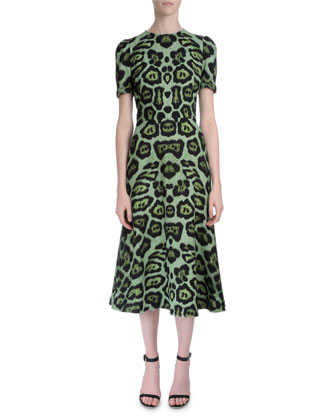 Short-Sleeve Jaguar-Print Dress, Green