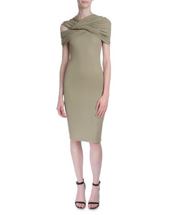 Draped-Shoulder Fitted Dress, Beige