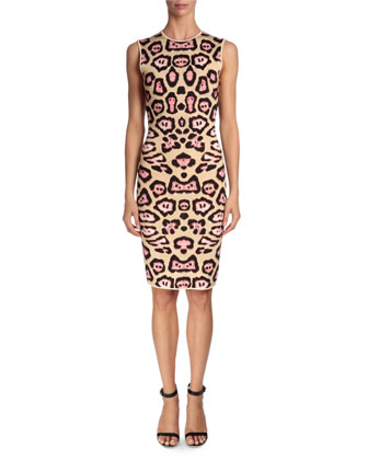 Jaguar-Print Punto Milano Dress, Pink