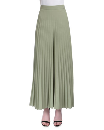 High-Waist Wide-Leg Plisse Pants, Green