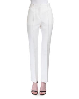 Reversible-Seam Skinny-Leg Trousers, White