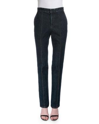 High-Waist Slim-Leg Jeans, Denim