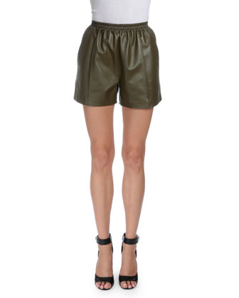 Mid-Rise Leather Shorts, Military