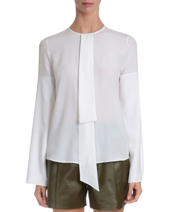 Moto Cape Jacket, Tie-Neck Cape-Sleeve Blouse & Mid-Rise Leather Shorts