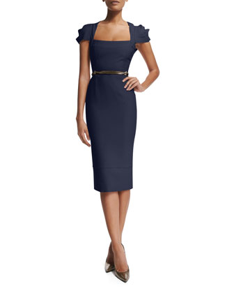 Galaxy Square-Neck Sheath Dress, Navy