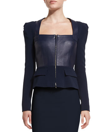Galaxy Square-Neck Peplum Jacket, Navy