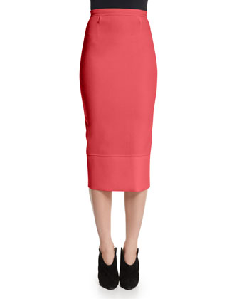 Galaxy Square-Neck Peplum Top & Pencil Skirt, Rose Pink