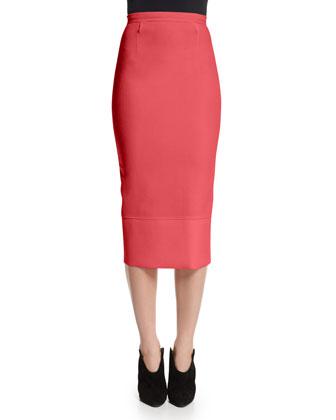 Galaxy Square-Neck Peplum Top & Pencil Skirt, Rose Pink