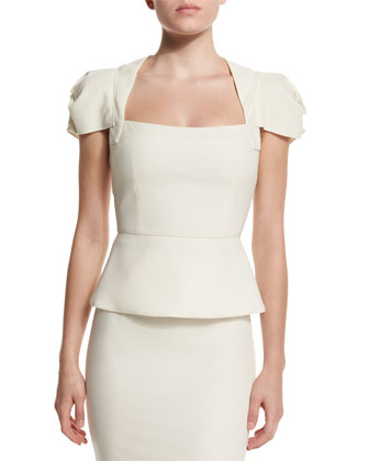 Galaxy Square-Neck Peplum Top, White