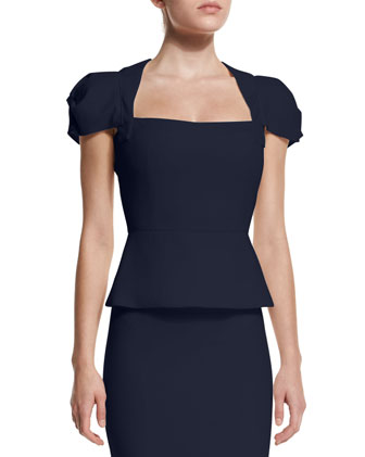 Galaxy Cap-Sleeve Peplum Top, Navy