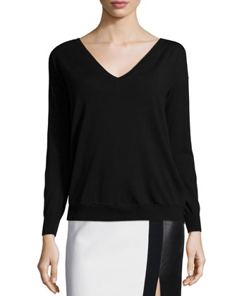 Long-Sleeve Tissue Sweater, Black