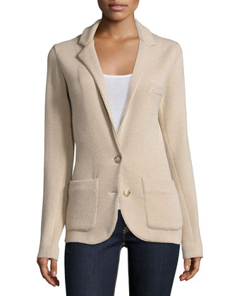 Cashmere Two-Button Jacket, Scoop-Neck Cashmere Tank & Mid-Rise Matchstick ...
