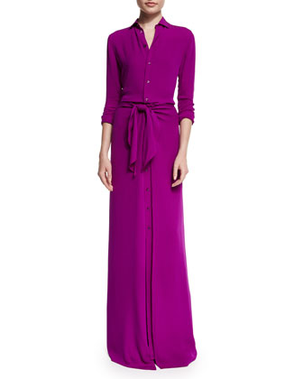 Long-Sleeve Button-Front Shirt Gown, Berry