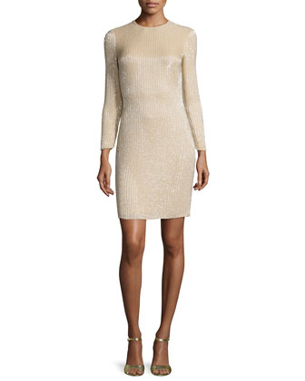 Long-Sleeve Embellished Cocktail Dress, Nude