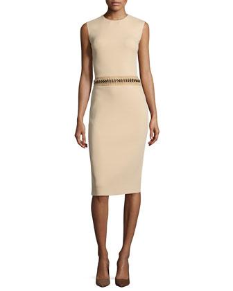 Sleeveless Jewel-Neck Sheath Dress, Sand