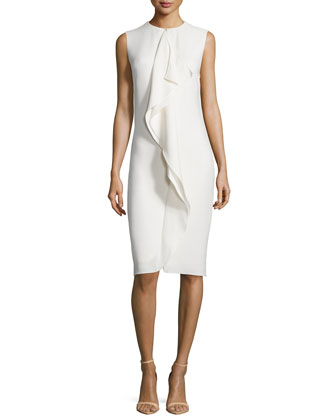 Sleeveless Ruffle-Front Sheath Dress, Cream