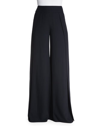 Wide-Leg High-Waist Pants, Black