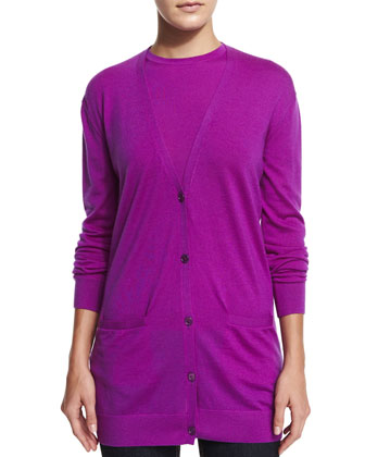 Button-Front Cashmere Cardigan, Berry