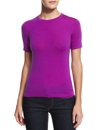 Short-Sleeve Jewel-Neck T-Shirt, Berry