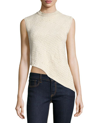 Sleeveless Asymmetric-Hem Top, Blonde