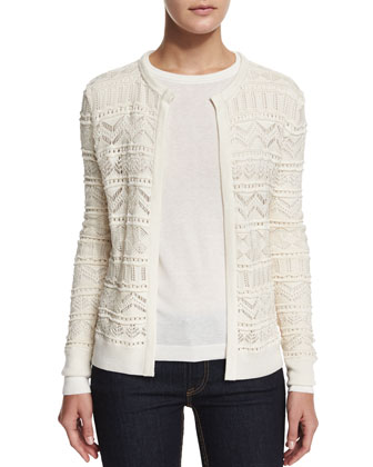 Long-Sleeve Open-Front Cardigan, Cream