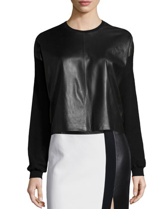 Long-Sleeve Boxy Combo Cardigan & Colorblock Leather-Inset Pencil Skirt