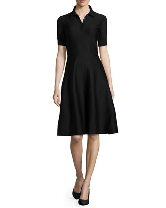 Short-Sleeve Polo A-Line Dress, Black
