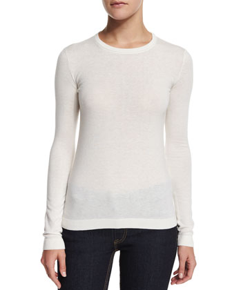 Long-Sleeve Cashmere T-Shirt, Cream