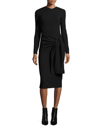 Long-Sleeve Tie-Waist Sheath Dress, Black