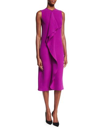 Ruffle-Front Sheath Dress, Berry